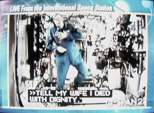 Fake caption on video has floating astronaut saying TELL MY WIFE I DIED WITH DIGNITY