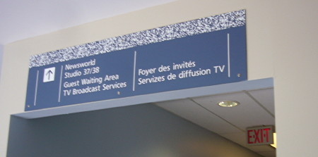 Sign reads TV Broadcast Services (and other room designations)