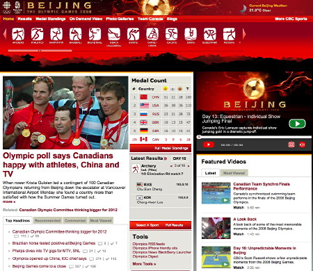 Screenshot: CBC Sports Beijing Olympics page