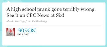 905CBC: A high-school prank gone terribly wrong. See it on CBC News at Six!