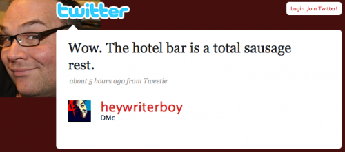heywriterboy: Wow. The hotel bar is a total sausage rest.