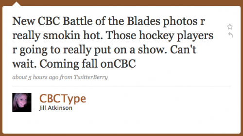 CBCType: New CBC Battle of the Blades photos are really smokin hot'