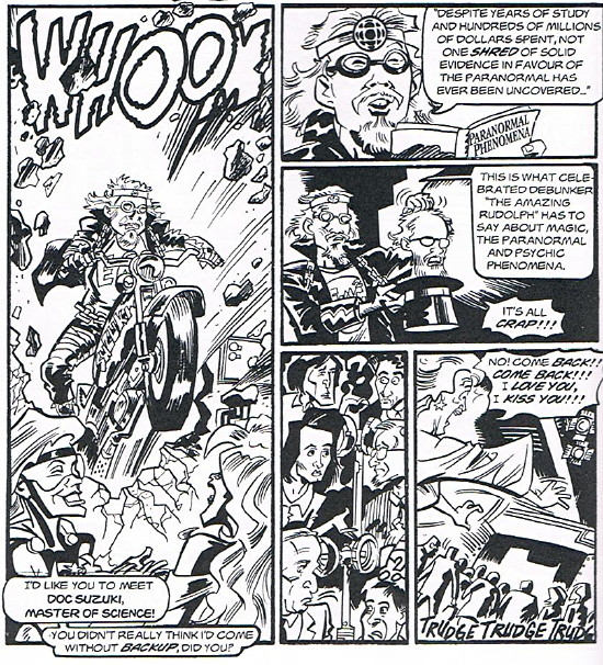 """Panels from comic strip: Guy bursts in on motorcycle. """"I'd like you to meet Doc Suzuki, Master of Science!"""""""