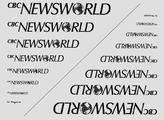 Stack of CBC Newsworld logotypes in decreasing sizes alongside the same thing upside down. One reads For Magazine, the other For Newspaper