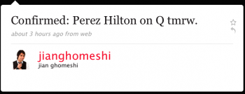 jianghomeshi: Reminder: Perez Hilton on Q tmrw