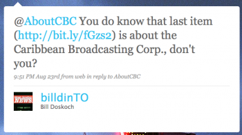 billdinTO: @AboutCBC You do know that last item is about the Caribbean Broadcasting Corp., don't you?