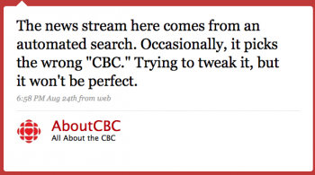 """AboutCBC: The news stream here comes from an automated search. Occasionally it picks the wrong """"CBC."""" Trying to tweak it, but it won't be perfect"""