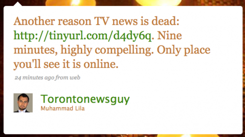 TorontoNewsguy: Another reason TV News is dead: [URL] Nine minutes, highly compelling. Only place you'll see it is online.
