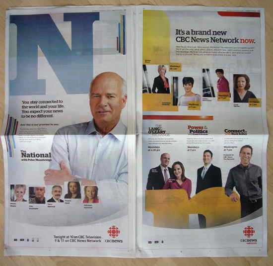Two full-colour newspaper ads for CBC News