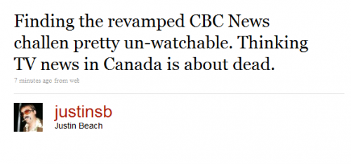Twitter - Justin Beach- Finding the revamped CBC