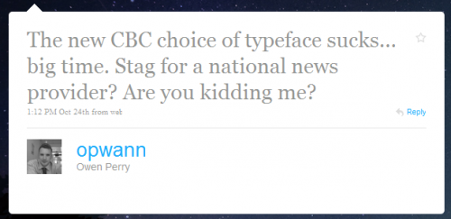 Twitter - Owen Perry- The new CBC choice