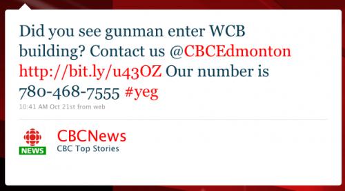 CBCNews: Did you see gunman enter WCB building? Contact us @CBCEdmonton