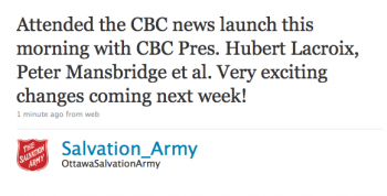 Salvation_Army: Attended the CBC News launch this morning.... Very exciting changes coming next week!
