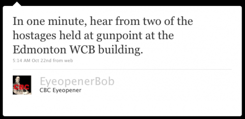 EyeopenerBob: In one minute, hear from two of the hostages held at gunpoint at the Edmonton WCB building